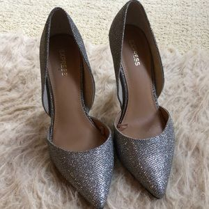 Express silver sparkly formal heels